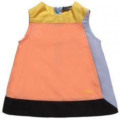 ORANGENES BABY GIRL COLOUR-BLOCK KLEID  Fendi Baby