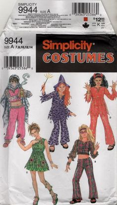 9944 Simplicity Pattern Girls Costume Witch Dancer Hippie  Child 7 8 10 12 14 #Simplicity #Sewing