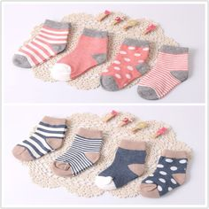 ( 8 pieces/lot=4pair )95% cotton baby socks set spring/autumn newborn infant toddler floor No bone for 0-3y promoted!!!