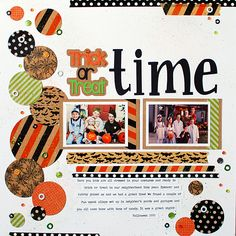 Trick-Or-Treat Time - Scrapbook.com - Cover cardstock with different washi tape patterns and then punch with various sized circle punches.