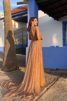 Champagne Prom Dresses with Sleeves Sequins Open Back Evening Dresses Sequin Evening Dresses, Evening Dresses With Sleeves, Long Prom Gowns, Sweet 16 Dresses, Mothers Dresses, Cheap Prom Dresses Online, Muslim Wedding Dresses, Dress Wedding, Hijab Dress Party