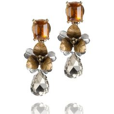 Tory Burch Emerald Stone Tear Drop Earring ($350) ❤ liked on Polyvore
