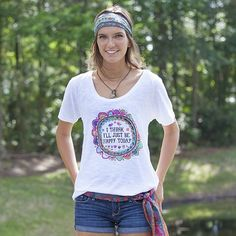 Natural Life- I Think I'll Just Be Happy Boho Tee