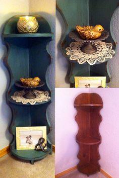 Antique corner shelf made over with DIY chalk paint and a dark walnut stain glaze.