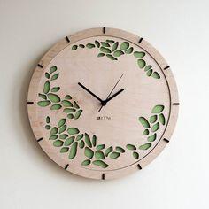 "Modern Wall Clock ""Tree leaves"" Large Wall Clock, Wooden Clock, Wood Decor Green Leaves Interior, plywood, handmade, HERMLE mechanism,"