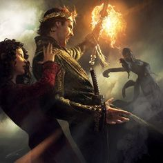 """""""Knife of Dreams"""" ebook cover by Michael Komarck. Rand (holding the Dragon Scepter), protecting Min behind him. His hand is being destroyed by fire from Semirhage."""