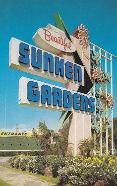Vintage Sunken Gardens Sign, St. Petersburg, Florida: