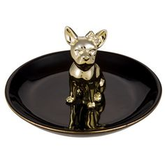 BLACK DOG - Coupelle à bijoux en porcelaine noire