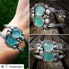 We're in love with this sea glass cuff bracelet by @lisajdesigns ! #maineartist #etsymaineteam #207 #etsyshop #womenwhocreate #EtsySuccess #DifferenceMakesUs #DifferenceMakesUsEMT #madeinamerica #jewelryofinstagram #handmadegifts #handmadechristmas #handmadeisbetter #Repost @lisajdesigns ・・・ Here she is!! All done!  (although I may polish a little more and fix some of the spots that didn't oxidize very well.. That can wait till tomorrow!) But I am in love!!  Sterling silver cuff brace...