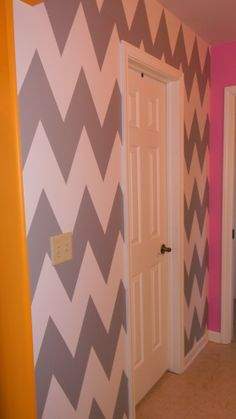 Chevron wall, girls bedroom painted by The Finish For You https://www.facebook.com/TheFinishForYou