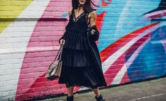 Anisa Sojka styles black H&M layered lace midi dress   Off the shoulder Malene Birger coat   Flat Zara boots with silver buckle   Gucci Dionysus GG Supreme canvas shoulder bag with bird, bee and floral embroidery   Baublebar choker necklace and leaf dimante earrings   Brunette straight shoulder length hair   Fashion blogger street style shot in Shoreditch, London in front of colourful graffiti art walls by Moeez Ali