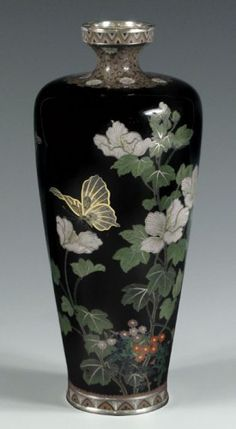 Flying Cranes Antiques...Japanese cloisonne' vase from Meiji Period