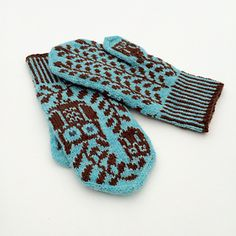 """""""GREY EYED"""" Mittens free knitting pattern  These mittens feature owls and olive trees - symbols of the goddess Athena."""
