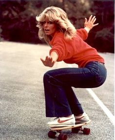 1977 Farrah, shag haircuts (had that one too, only longer) and skateboards go mainstream.