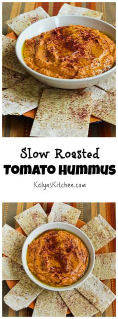 Use homemade slow roasted tomatoes or sun-dried tomatoes from a jar to make this amazing Slow Roasted Tomato Hummus, perfect for a late-summer party appetizer! [from KalynsKitchen.com]: Use homemade slow roasted tomatoes or sun-dried tomatoes from a jar to make this amazing Slow Roasted Tomato Hummus, perfect for a late-summer party appetizer! [from KalynsKitchen.com]