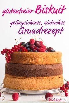 Ein super guter glutenfreier Biskuit! Grundrezept mit vielen Varianten. #glutenfrei #biskuit #rezept #kochtrotz #schokoladenbiskuit #gelingsicher