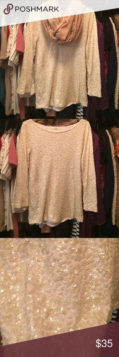 ⚡️SALE PRICE $20⚡️J.Crew Sequin Top Cream Sequin top 3/4 length sleeves J. Crew Tops Blouses