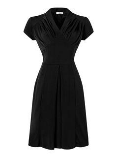 V-neck Dark Green Solid Cotton Knee Length Vintage Cocktail Dress