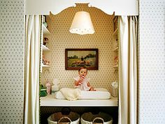 SUCH a great idea - built-in changing table area, nursery