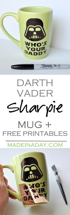 Make your own Darth Vader Sharpie mug and then grab 2 free printables for your home or office decor! Silhouette Cameo Craft, Father's Day mug, Star Wars printables, Darth Vader Quote Printables on madeinaday.com
