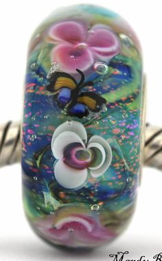 MONET'S WATER LILIES fits Pandora and Trollbeads bracelets artisan murano glass charm bead. Cored with sterling silver. Made by glass artist Mandy Ramsdell