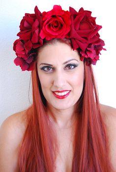 Scarlet and Dark Red Rose Flower Crown Headpiece by NebulaXcrafts, $54.25