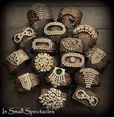 Vintage Rhinestone Brass Cuffs By In Small Spectacles Jewelry