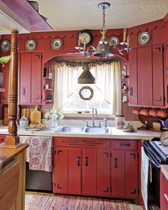 Red and White Country Kitchen. Red and White Country Kitchen. White Country Kitchen with Red Accessories Make A Short Red Country Kitchens, White Farmhouse Kitchens, Country Farmhouse Decor, Country Primitive, Country Charm, Primitive Decor, Red And White Kitchen, Tuscan Kitchens, Primitive Christmas
