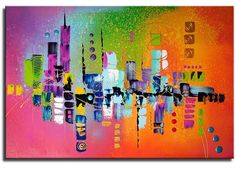 Schilderij Summer in the City Color Stories, Mixed Media Art, Beautiful Day, Color Pop, Abstract Art, Skyline, City, Summer, Canvas