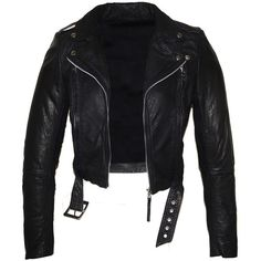 Hand Made Short Cropped Bubble Leather Motorcycle Biker Women Jacket... (200 BAM) ❤ liked on Polyvore featuring outerwear, jackets, black, women's clothing, motorcycle jacket, black jacket, bubble jacket, cropped leather jacket and cropped jacket