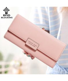 Buy Womens Wallet RFID Blocking Bifold Multi Card Case Leather Wallet - Pink - and More Fashion Bags at Affordable Prices. Branded Wallets, Women's Wallets, Diy Trend, Diy Simple, Minimalist Leather Wallet, Diy Wallet, Rfid Blocking Wallet, Handmade Leather Wallet, Thing 1