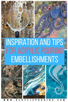 Inspiration and Tips for Acrylic Pouring Embellishments Ceramic Pottery Acrylic acrylic pour painting Embellishments inspiration Pouring Tips Pour Painting Techniques, Acrylic Pouring Techniques, Acrylic Pouring Art, Acrylic Art, Flow Painting, Acrylic Painting Lessons, Watercolor Painting, Flow Arts, Fluid Acrylics