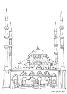 Coloring books for Muslim children. Coloring mosque Arabic alphabet coloring
