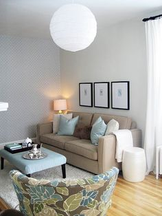 Considering the beige couch. Very soothing, but not very energizing for me. Do I want this for the family room? Apartment Chic, Apartment Living, Apartment Therapy, New Living Room, Living Room Decor, Small Living, Patterned Chair, Living Room Pictures, Room Colors