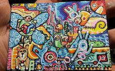 "JOSE Juarez ORIGINAL  PAINTING ACEO ""NO GRAVITY""  OOAK  ART ATC ABSTRACT FANTASY #OutsiderArt Original Paintings, Original Art, Types Of Art Styles, Outsider Art, Large Painting, Vibrant Colors, Colours, Atc, My Sunshine"