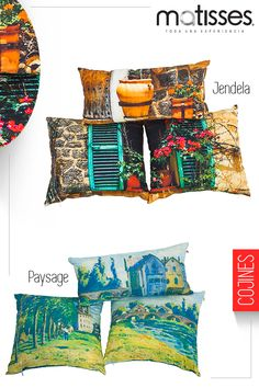 Los estampados de paisajes coloridos hacen parte de los set de cojines Matisses, perfectos para hogares con estilo contemporáneo.