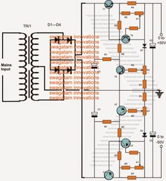 The post includes a circuit design of a 0 to 50V dual variable power supply circuit with an added 0 to 10amp current control feature