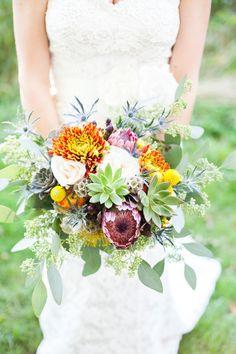 Chrysanthemum, Craspedia, Succulent and Thistle Bouquet