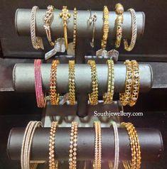 Diamond, Emerald and Ruby Bangles - Indian Jewellery Designs Gold Bangles Design, Gold Jewellery Design, Gold Jewelry, Designer Jewellery, Jewelry Shop, Diamond Earrings, Gold Necklace, Ruby Bangles, Bangle Set