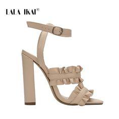 6ef8f647b LALA IKAI Women Ruffles Sandals PU Square Heel Solid Fashion Buckle Strap  Ladies Heeled Shoes Zapatos De Mujer 014C1920 -49