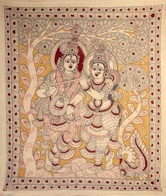 Venugopala with his Beloved Radha, Folk Art Kalamkari Painting on Cotton Kalamkari Painting, Madhubani Painting, Silk Painting, Radha Radha, Mother Kali, Kalamkari Designs, Krishna Leela, Nataraja, Diy Canvas