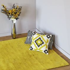 200e Tapis en viscose jaune (plusieurs tailles disponibles) - Tansen -  Tapis-Textiles, Tapis-Salon, Salle à manger-Par pièce - Décoration intérieur - Alinea