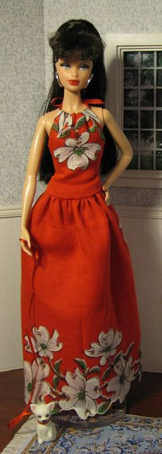 Red dogwood halter maxi dress for model muse and Silkstone Barbie by HankieChic, on Etsy now