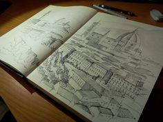 panoramica di firenze-  schizzo con penna a china #florence #sketch #cupola #panorama #città #case #sketchbook