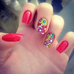 spring nail art designs in red - StyleKuw Pretty Nail Art, Beautiful Nail Art, Spring Nail Art, Spring Nails, Spring Nail Colors, Hair And Nails, My Nails, Summer Toe Nails, Manicure E Pedicure