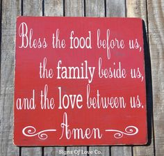 Blessings Kitchen Décor Wall Art Elegant Rustic Designs Bless The Food Before Us The Family Beside Us Wood Sign Kitchen Decor Plaque Religious Scripture Verse Dining Room Signs Thanksgiving Christmas Gift $ Farmhouse Chic Red Custom Wood Distressed