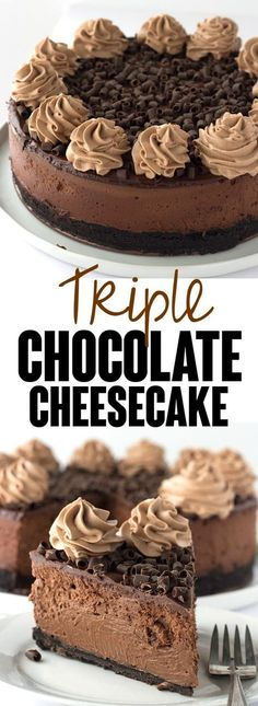 Decadent Triple Chocolate Cheesecake - I'm taking this cheesecake to the next level just for my chocolate lovers! There's a chocolate oreo crust, rich chocolate cheesecake filling and topped with a milk chocolate ganache, chocolate whipped cream and chocolate curls! via Miranda @ Cookie Dough & Oven Mitt