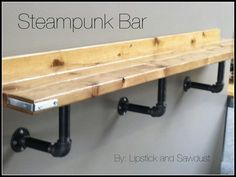Easy Steampunk Bar Ledge Tutorial Hello all! I built this ledge (bar) for my church about a month or so ago. It was sooo eas. Steampunk Bar, Steampunk Furniture, Garage Bar, Pub Table Sets, Pipe Furniture, Furniture Ideas, Automotive Furniture, Automotive Decor, Handmade Furniture