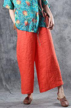 Loose Orange Linen Casual Pants Women Summer Trousers K10066 Pants For Women, Clothes For Women, Type Of Pants, Summer Pants, Orange Fashion, Linen Trousers, Straight Leg Pants, Paris Fashion, Casual Pants