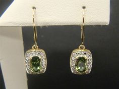 14K YELLOW GOLD OLIVE APATITE DIAMOND ACCENT EARRINGS DANGLE LEVERBACKS DROP